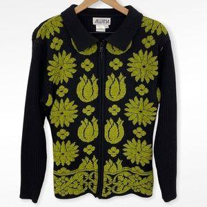 VTG Awina Black Green Floral Zip Front Cardigan